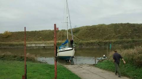 Yacht being hauled out at Blundellsands Sailing Club